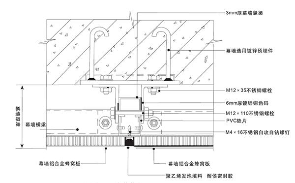 石材铝蜂窝复合板安装节点图一