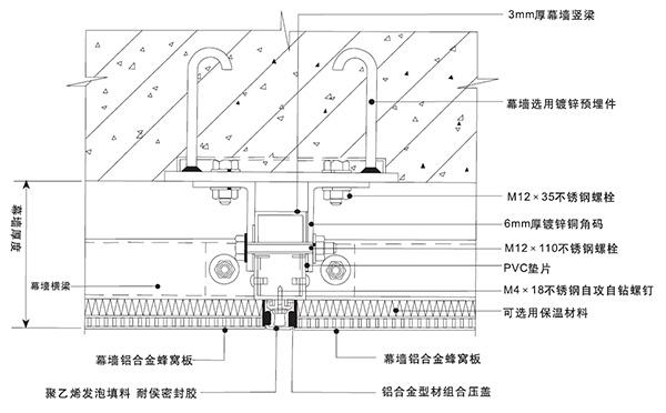 石材铝蜂窝复合板安装节点图二