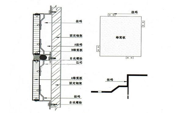 石材铝蜂窝板外墙安装节点图