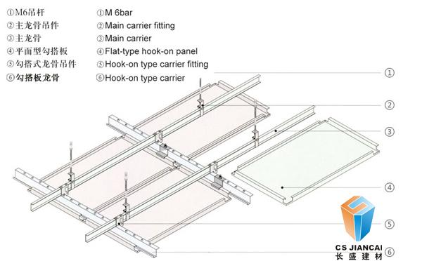 长盛建材勾搭铝单板安装节点图4