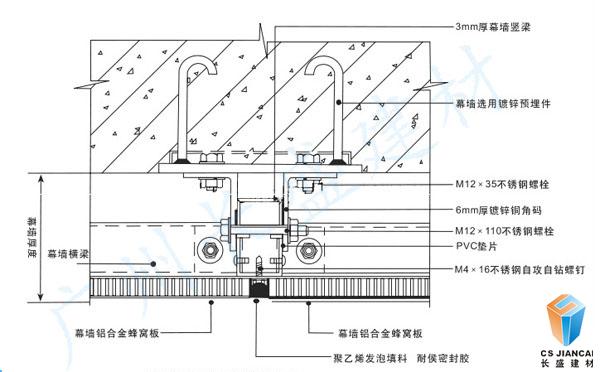 铝蜂窝穿孔吸音板安装节点图一