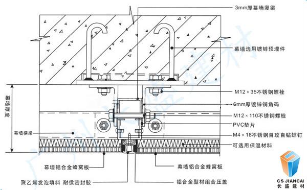 铝蜂窝穿孔吸音板安装节点图二