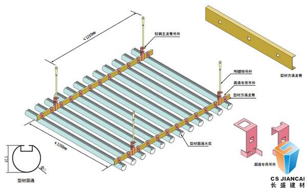 圆管铝方通安装节点示意图3003