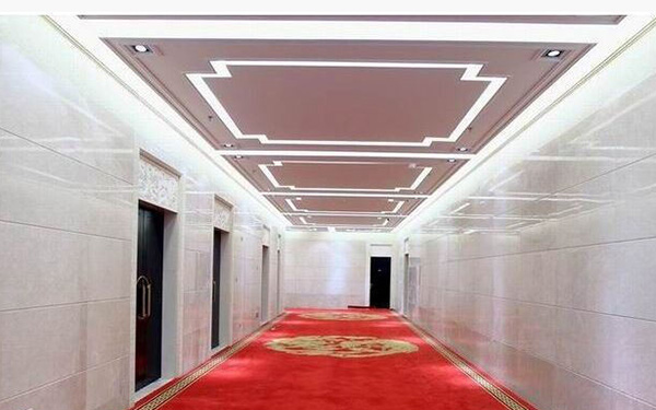 仿石纹铝蜂窝板室内过道幕墙1