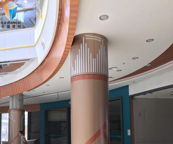 铜色包柱铝单板装饰效果