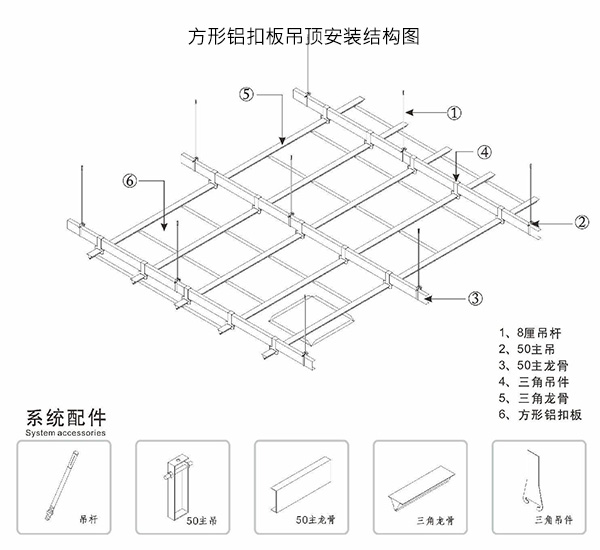 方形铝扣板吊顶安装结构图