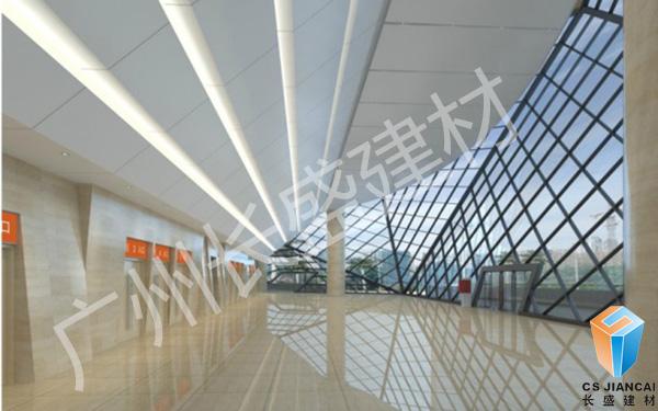 幕墙石纹铝单板走廊效果